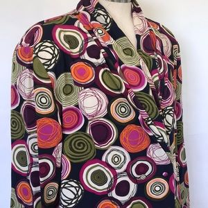 Vintage Nicola circle print blouse Sz 14 navy pink